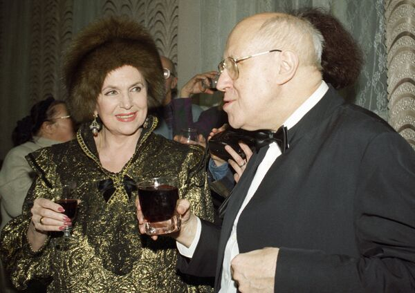 Мстислав Ростропович и Галина Вишневская на юбилее Солженицына