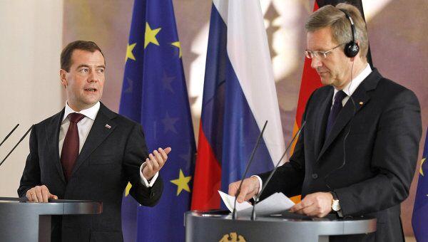 Президент РФ Д.Медведев на встрече с президентом ФРГК.Вульфом