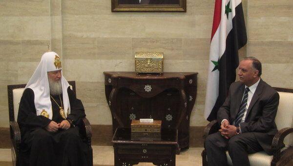 Встреча Патриарха Московского и всея Руси Кирилла с премьер-министром Сирии Аделем Сафаром в Дамаске