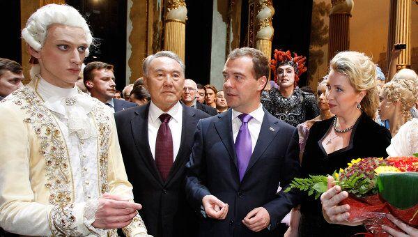 Д. Медведев и Н. Назарбаев на премьере Спящей красавицы в ГАБТ