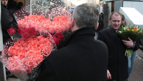Торговля цветами, архивное фото