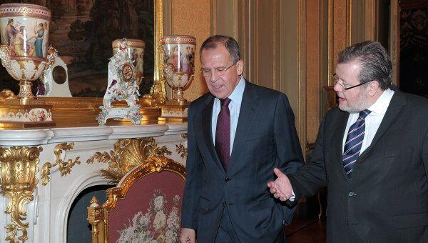 Министр иностранных дел России Сергей Лавров и министр иностранных дел Исландии Эссур Скарпхьединссон во время встречи в особняке МИД РФ