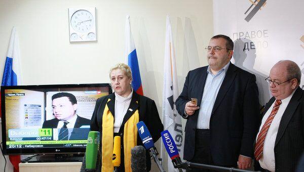 Работа штаба политической партии Правое дело в Москве. Архивное фото