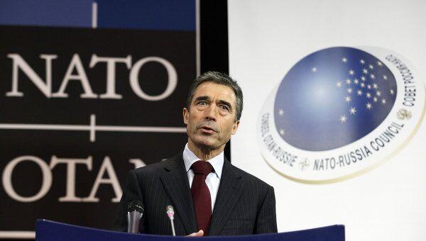 Генсек НАТО Андерс Фог Расмуссен на заседании СРН в Брюсселе