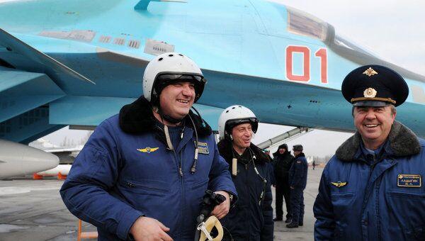 Встреча бомбардировщиков Су-34, прилетевших из Новосибирска