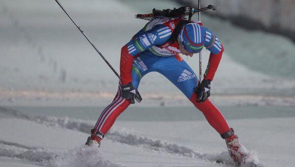 Алексей Волков на финише мужской эстафетной гонки на четвертом этапе Кубка Мира в Оберхофе