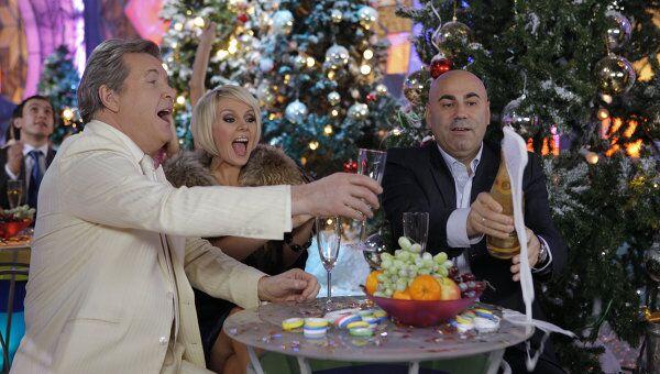 Лев Лещенко, Валерия и Иосиф Пригожин на съемках новогодней передачи Голубой огонек.