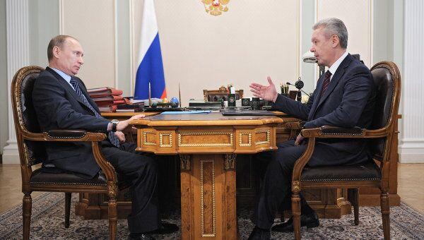 Встреча Владимира Путина с Сергеем Собяниным в Ново-Огарево