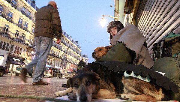 Бездомный человек сидит со своими собаками на одной из улиц в городе Лилль, Франция