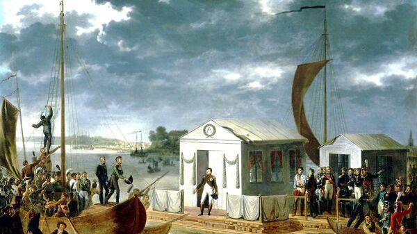 Адольф Роен. Встреча Наполеона I-го и Александра I-го на Немане 25 июня 1807 года