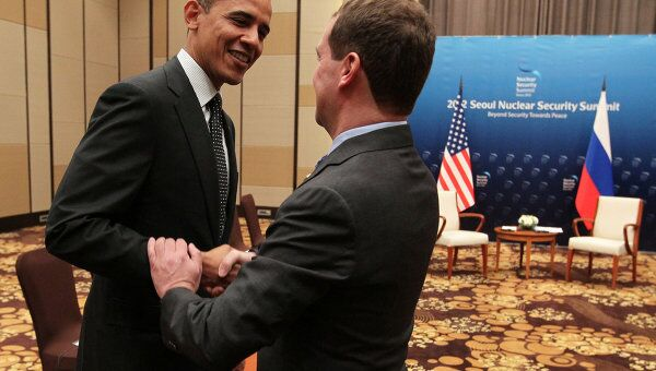 Президент России Дмитрий Медведев и президент США Барак Обама