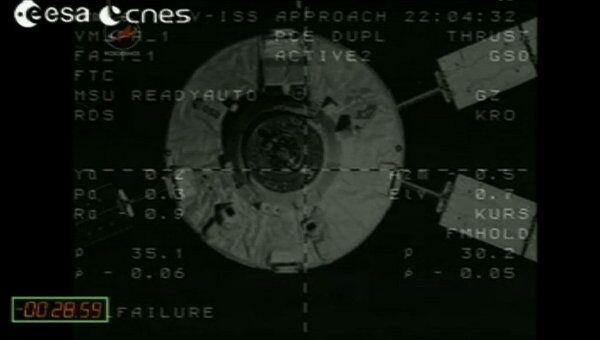 Европейский космический грузовой корабль ATV-3 Эдоардо Амальди перед стыковкой с МКС