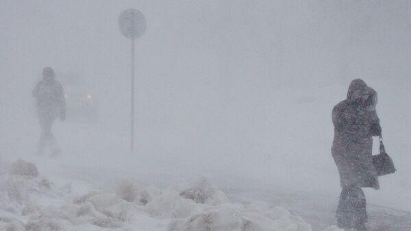 Снежный циклон в Южно-Сахалинске