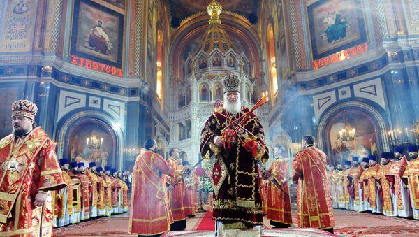 Пасхальное богослужение в храме Христа Спасителя в Москве. Архивное фото