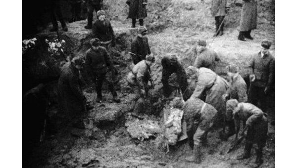 Эксгумация могил в Катыни. Архив