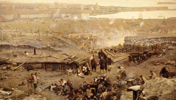 Фрагмент панорамы Оборона Севастополя 1854-1855 г.г. автора Франца Рубо