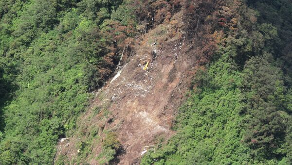 Место катастрофы российского самолета Sukhoi SuperJet-100 в Индонезии