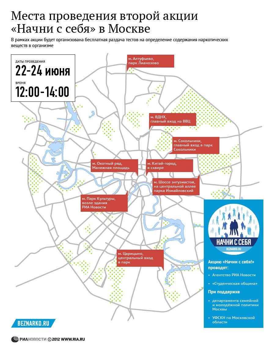 Места проведения второй акции Начни с себя в Москве