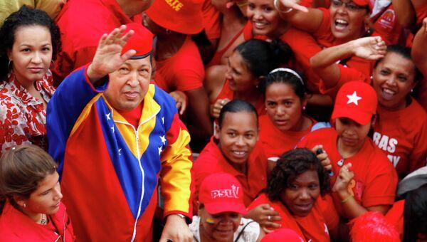 Сторонники вышли поздравить Чавеса со статусом кандидата в президенты