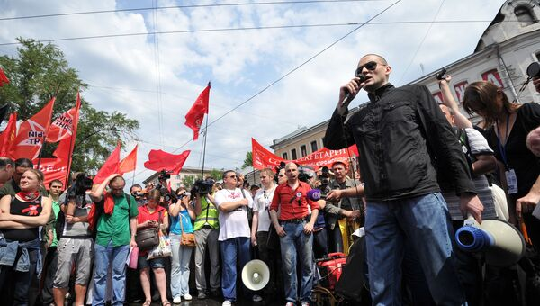 Координатор движения Левый фронт Сергей Удальцов выступает во время акции оппозиции Марш миллионов