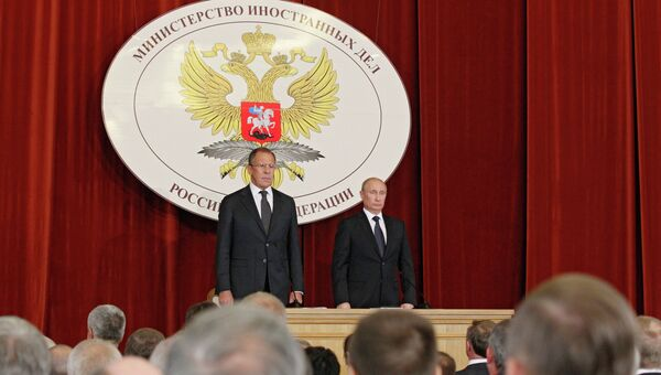 В.Путин на совещании в МИД РФ