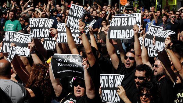 Госслужащие протестуют в Мадриде против планов властей по сокращению дефицита бюджета