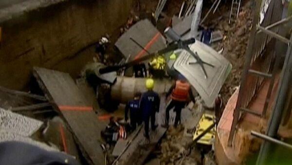 Улицы и здания проваливаются под землю на Тайвани из-за тайфуна