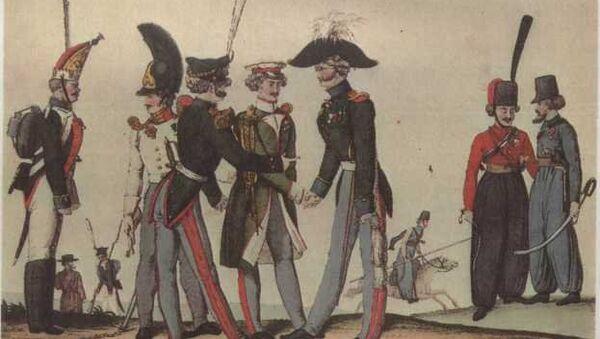 Русские солдаты и офицеры. Раскрашенная гравюра. Неизвестный гравер. Первая четверть XIX в.