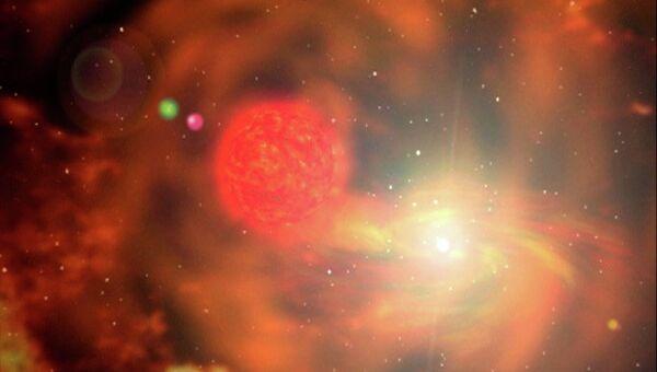 Так художник представил себе уникальную сверхновую PTF 11kx, вспыхнувшую в созвездии Рыси в январе 2011 года
