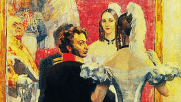 «Александр Сергеевич Пушкин и Наталья Николаевна Пушкина на придворном балу», Николай Ульянов, 1937