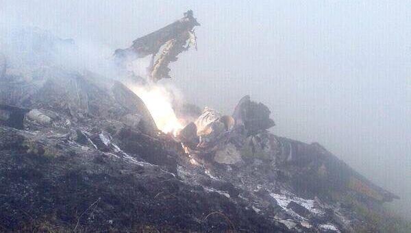 На месте крушения вертолета Ми-35 в республике Дагестан