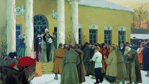 Кустодиев Б. Чтение манифеста (Освобождение крестьян), 1907