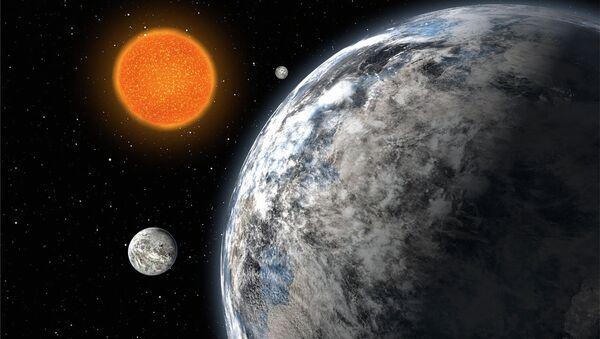 Три суперземли, обращающиеся вокруг звезды HD 40307, в представлении художника