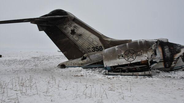 Обломки американского военного самолета, потерпевшего крушение в провинции Газни, Афганистан. 27 января 2020