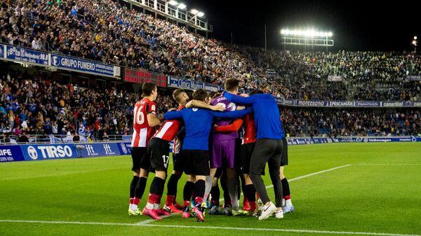 Футболисты Атлетика празднуют выход команды в 1/4 Кубка Испании