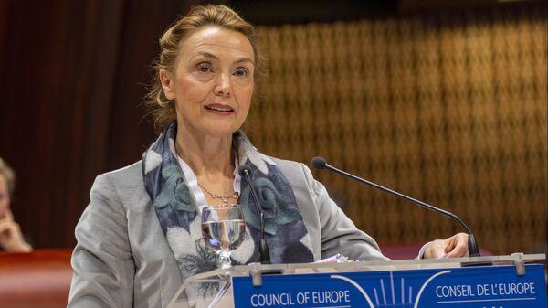 Генеральный секретарь Совета Европы Мария Пейчинович-Бурич выступает на зимней сессии Парламентской ассамблеи Совета Европы