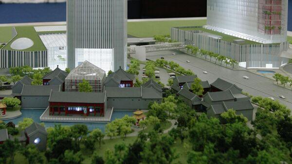 Макет китайского делового центра Парк Хуамин