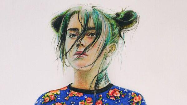 Рисунок Анастасии Ковтун с изображением Билли Айлиш для обложки журнала Vogue