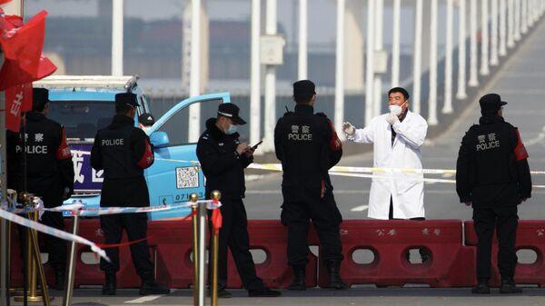 Мужчина, прибывший из провинции Хубэй, на контрольно-пропускном пункте на мосту через реку Янцзы