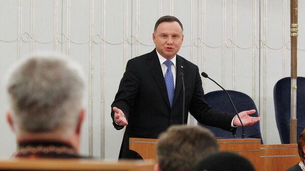 Президент Польши Анджей Дуда на открытии первой сессии Нового созыва сената