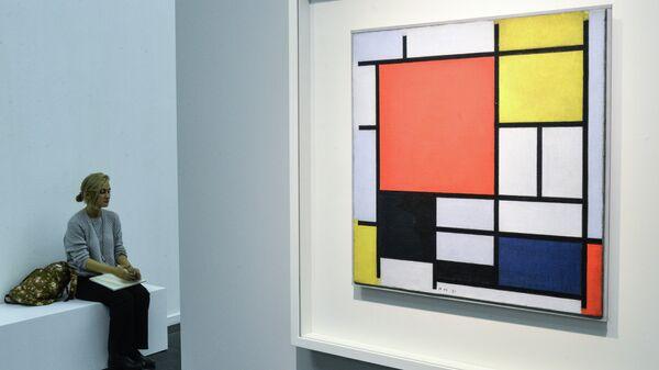 Пит Мондриан Композиция с большой красной плоскостью, желтым, черным, серым и синим. 1921
