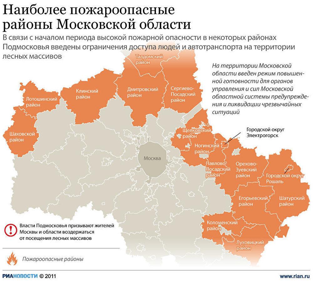 Наиболее пожароопасные районы Подмосковья