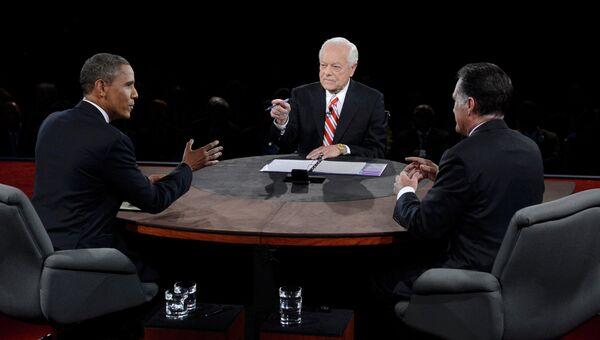 Митт Ромни и Барак Обама во время дебатов, посвященных внешней политике