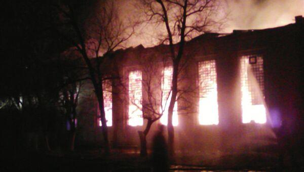 Пожар в Доме культуры в поселке Дергачи Саратовской области