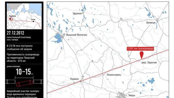 Авария на газопроводе в Тверской области