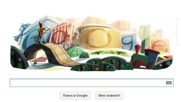 Праздничный логотип Google к Рождеству