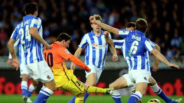 Игровой момент матча Реал Соседад - Барселона
