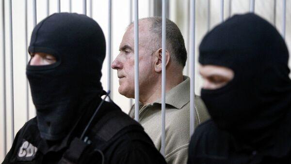 Бывший начальник департамента внешнего наблюдения МВД Украины Алексей Пукач на заседании суда в Киеве