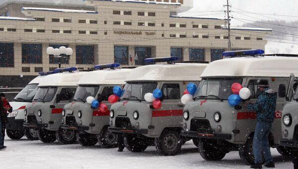 Новые автомобили Скорой помощи для больницы на Чуйском тракте в Горном Алтае