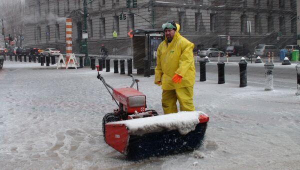 Зимний шторм в Нью-Йорке